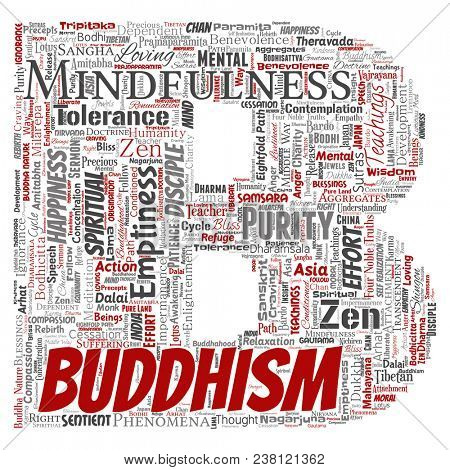 Conceptual buddhism, meditation, enlightenment, karma letter font B red word cloud isolated background. Collage of mindfulness, reincarnation, nirvana, emptiness, bodhicitta, happiness concept