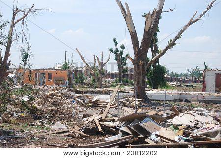 Tornado devastation.