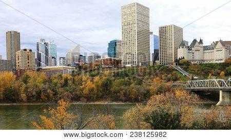 An Edmonton, Canada City Center With Colorful Aspen In Autumn