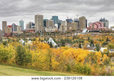 An Edmonton Cityscape With Colorful Aspen In Autumn
