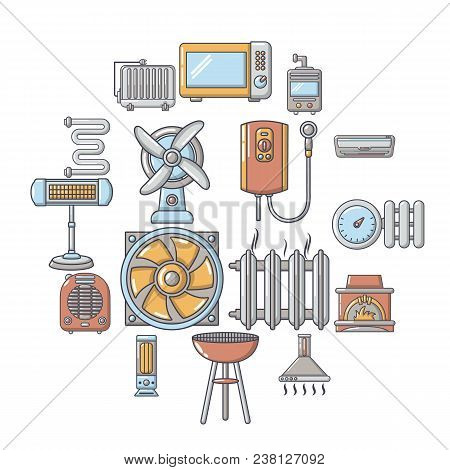 Heat Cool Air Flow Tools Icons Set. Cartoon Illustration Of 16 Heat Cool Air Flow Tools Vector Icons