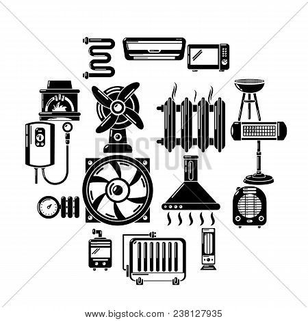 Heat Cool Air Flow Tools Icons Set. Simple Illustration Of 16 Heat Cool Air Flow Tools Vector Icons