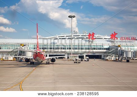 Guilin - October 02:  Planes preparing for take off at Guilin International Airport on October 2, 2017 in Guilin, China. Guilin is popukar tourist destination on the sounth of China