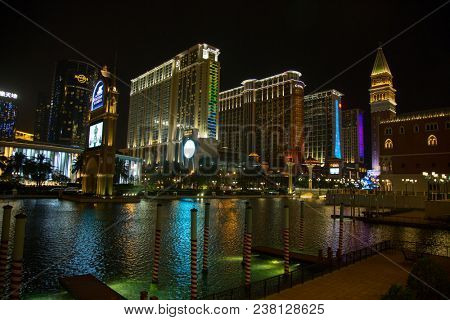 MACAU - APRIL 2: Facade of the Sands casino on April 2, 2017 in Macau. Macau is famous for casino and luxury resorts.