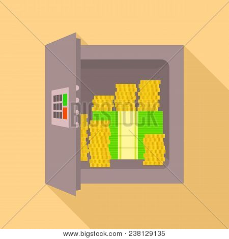 Safe Of Money Icon. Flat Illustration Of Safe Of Money Vector Icon For Web