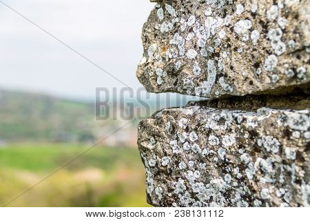 The Old Stone Against The Sky, Old Concrete Wall Background With Place For Text, Template For The Wr