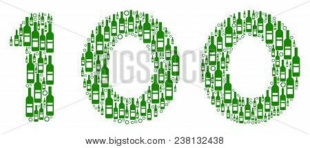100 Text Composition Of Wine Bottles And Circles In Different Sizes And Green Colors. Vector Items A