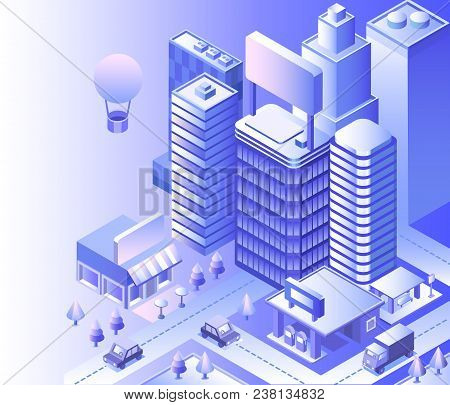 Modern City Landscape. Cityscape 3d Vector Isometric. Skyline Scene. Smart City Skyscraper, Building