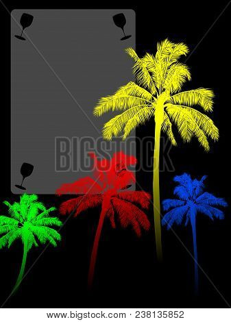 Red Yellow Blue And Green Palm Tree Silhouette Over Black Background With Copy Space Area With Cut O