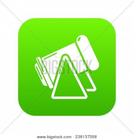 Battle Cannon Icon Green Vector Isolated On White Background