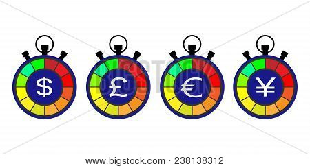Stopwatch,currency Exchange Rate Counter. Currency Exchange Symbols, Dollar, Pound, Euro And Yen Sig