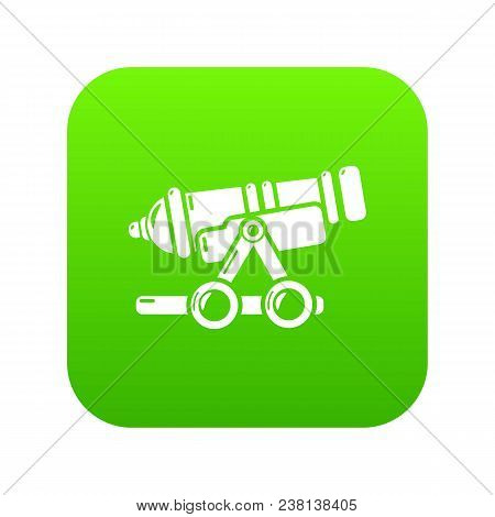 Coastal Cannon Icon Green Vector Isolated On White Background