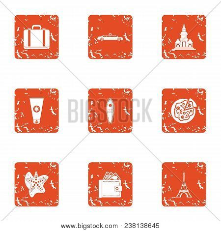 Rich Vacationer Icons Set. Grunge Set Of 9 Rich Vacationer Vector Icons For Web Isolated On White Ba