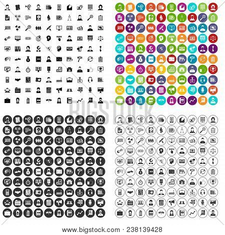 100 Administrator Icons Set Vector In 4 Variant For Any Web Design Isolated On White