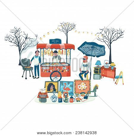 Secondhand Shop And Food Stall At Flea Market Or Market Fair, All In Colorful Doodle Cartoon Flat De