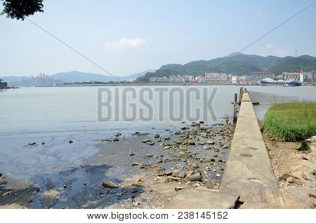 Macau, China- 10 Apr, 2018: Small Jetty Located  At Coloane Village, Macau. Coloane Village Is An An