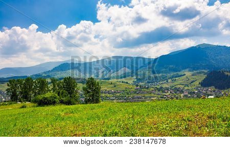 Beautiful Countryside Of Transcarpathian Town Volovets. Spectacular Early Autumn Scenery In Mountain