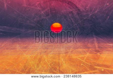 Purple Digital Sunrise Background. Composite Of Fractal Images Over Morning Sea. Concept Of Electron