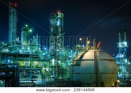 Gas Storage Sphere Tank In Gas And Oil Refinery Plant With Night, Close Up Of Petrochemical Plant, G