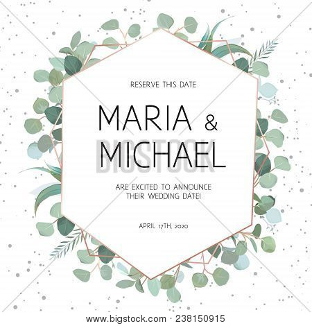 Elegant Vector Frame With Eucalyptus On White Background With Dots. Delicate Art Deco Card. Stylish