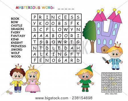 Illustration Of Game For Children: Crossword Of Fable