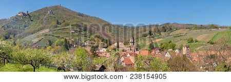 French Landscape - Vosges. Panoramic View Of A Small Village (ribeauvillé) In The Vosges With Old Ca