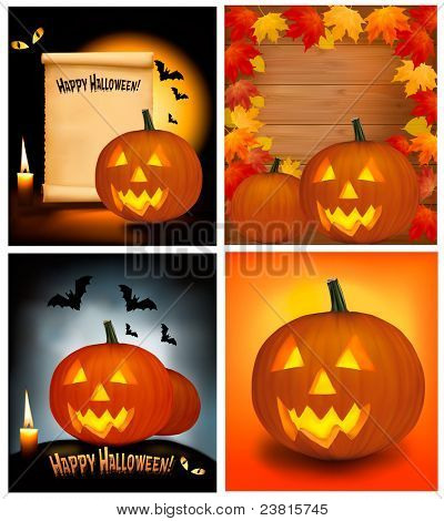 Set of Halloween background with scary pumpkins, bats, cat eyes and a candle. Vector.