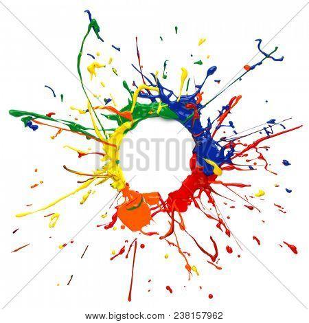 Colorful paint splatter frame on white