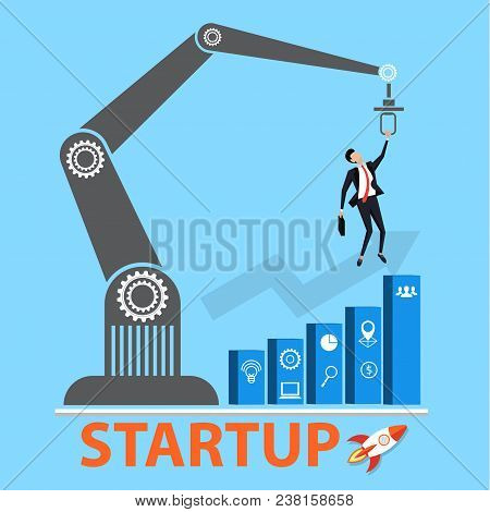 Business Startup Concept. Managers Struggling For Growth Graph With Innovation Or Startup. Conceptua