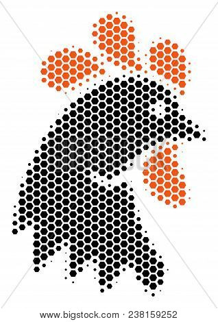 Halftone Hexagon Rooster Head Icon. Pictogram On A White Background. Vector Mosaic Of Rooster Head I