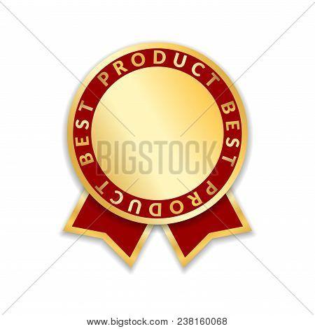 Ribbon Award Best Product Of Year 2017. Gold Ribbon Award Icon Isolated White Background. Best Produ