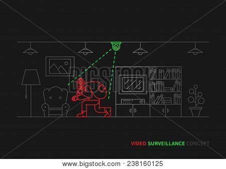 Thief, Robber In Apartment Vector Illustration. Night Vision Video Camera Surveillance Line Art Conc