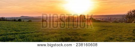 French Landscape - Vosges. A Small Village In Lorraine Surrounded By Fields At Sunset.