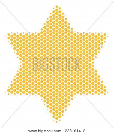 Halftone Hexagon Six Pointed Star Icon. Pictogram On A White Background. Vector Composition Of Six P