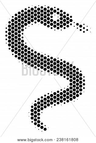 Halftone Hexagonal Snake Icon. Pictogram On A White Background. Vector Collage Of Snake Icon Done Of