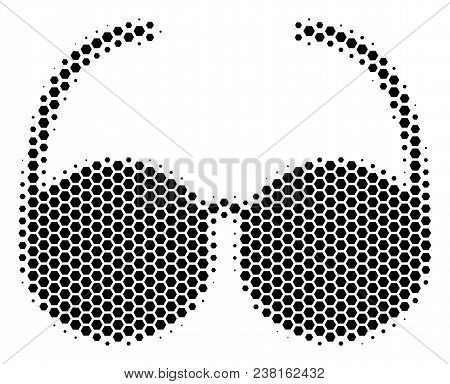 Halftone Hexagon Spectacles Icon. Pictogram On A White Background. Vector Pattern Of Spectacles Icon