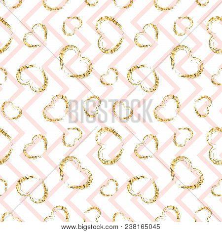 Gold Heart Seamless Pattern. Pink-white Geometric Zig Zag, Golden Grunge Confetti-hearts. Symbol Of