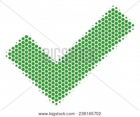 Halftone Hexagonal Yes Icon. Pictogram On A White Background. Vector Collage Of Yes Icon Done Of Hex