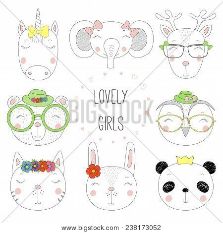 Set Of Hand Drawn Cute Funny Portraits Of Cat, Bear, Panda, Bunny, Reindeer, Unicorn, Owl, Elephant