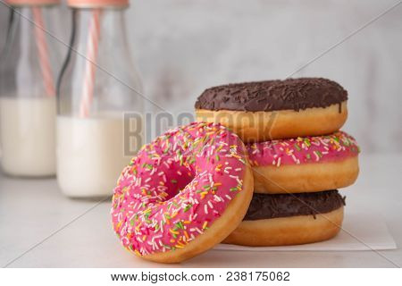 Donut. Sweet Icing Sugar Food. Dessert Colorful Snack. Glazed Sprinkles. Treat From Delicious Pastry