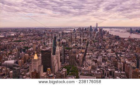 new york city aerial on a sunny evening