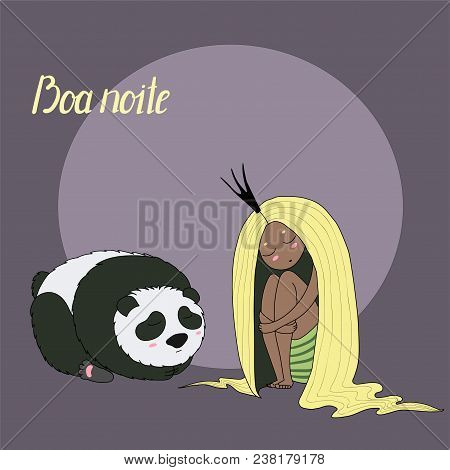 Hand Drawn Vector Illustration Of Sleeping Dark Skinned Princess With Long Hair And Panda, With Port