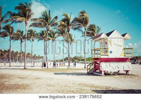 Miami Beach, Florida, Usa - February 18, 2018: Lifeguard Tower In South Beach, Miami Beach, Florida.