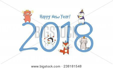 Hand Drawn Happy New Vector & Photo (Free Trial) | Bigstock