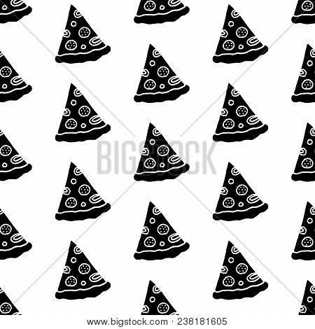 Cute Cartoon Fast Food Pattern With Hand Drawn Pizza Slices. Sweet Vector Black And White Fast Food