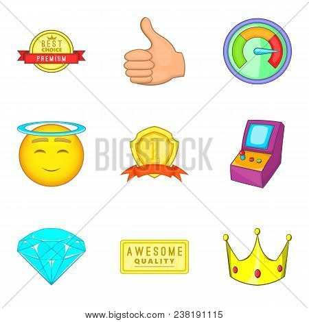 Achieving Success Icons Set. Cartoon Set Of 9 Achieving Success Vector Icons For Web Isolated On Whi