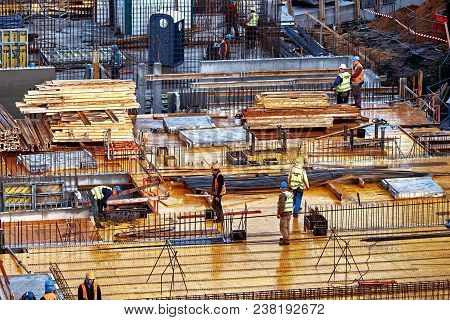 Wroclaw, Poland - September 10, 2017: Construction Site Workers, Construction Crews Working On High