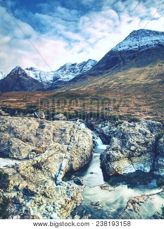 The Fairy Pools With Waterfall. The River Bellow  Majestatic Glen Brittle Mountain, Popular Hikers T