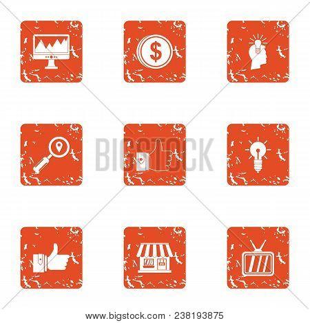 Small Organization Icons Set. Grunge Set Of 9 Small Organization Vector Icons For Web Isolated On Wh