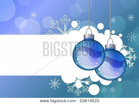 Blue Christmas background with hanging balls and snowflakes. Raster version.